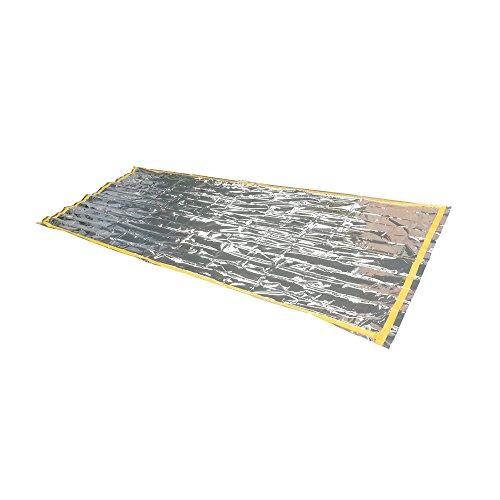 Oule GmbH Notfall-Schlafsack Biwak-Sack aus wärmeisolierender Aluminiumfolie Thermo Isolierung -Sack (210 x 90cm) Rettungsdecke reflektierende Innenseite
