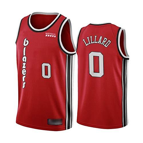 Camiseta de Baloncesto para Hombre, NBA, Portland Trail Blazers #0 Damian Lillard, #00 Carmelo Anthony. Bordado, Transpirable y Resistente al Desgaste Camiseta para Fan (Classic roja Lillard, S)
