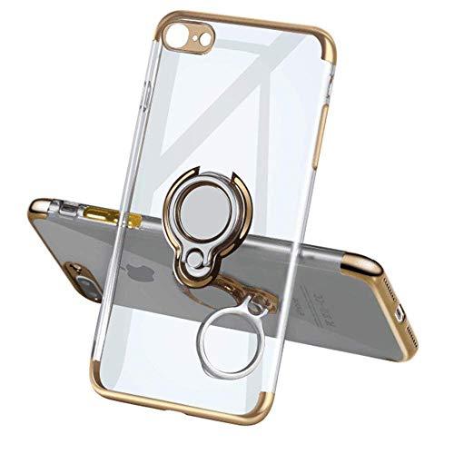 Funda transparente de silicona compatible con iPhone 6S Plus, con anillo metálico de 360 grados, soporte magnético, soporte para teléfono móvil, carcasa de goma dorado talla única