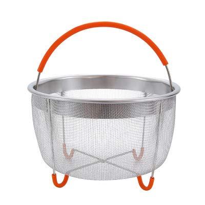 Star Supermarket snelkookpan stoommand voor 6/8 liter, multifunctionele fruitreinigingsmand rijstkoker van roestvrij staal, anti-verbrandingsstoomkoker met siliconen handvat oranje