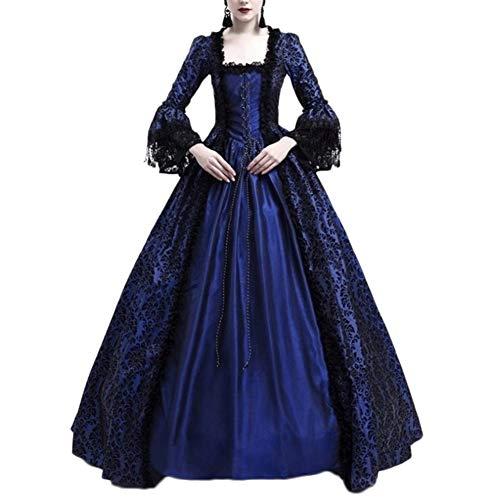 Damen Langarm Renaissance Mittelalter Kleid Viktorianischen Königin Kostüm Maxikleid Marine 3XL