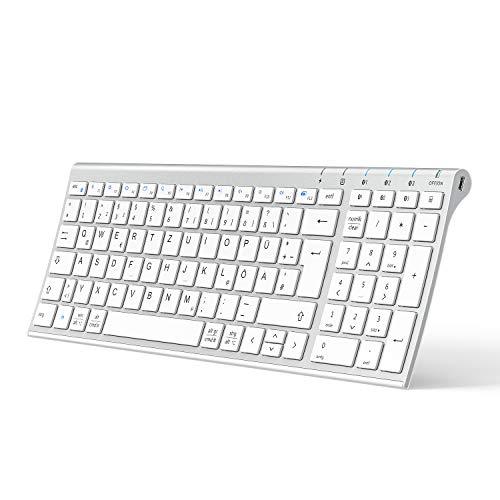 iClever BK10 Bluetooth Tastatur, kabellose wiederaufladbare Tastatur mit 3 Bluetooth Kanälen, Stabile Verbindung, Ultraslim Ergonomisches Design, Funk tastatur für iOS, Android, Windows,Weiß