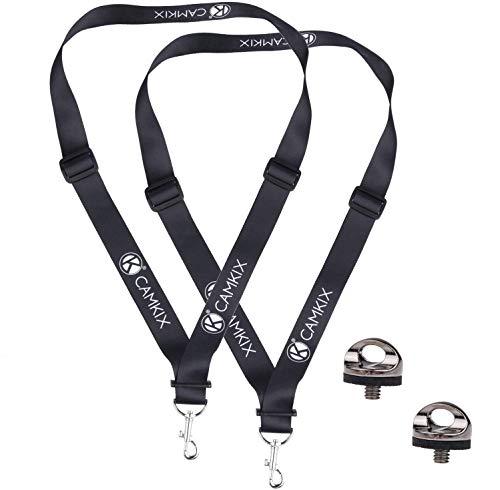 Set mit 2 Quick Install Kamera-Stativschrauben, 2 verstellbare Hals- / Schultergurte und Mikrofaser-Reinigungstuch - Für eine schnelle und sichere Verbindung mit Ihrer DSLR und Kompaktkamera