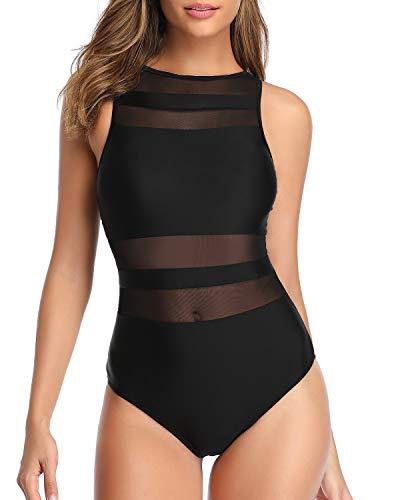 Holipick Women One Piece High Neck Swimsuits for Women Mesh Bathing Suit Open Back Swimwear Black M