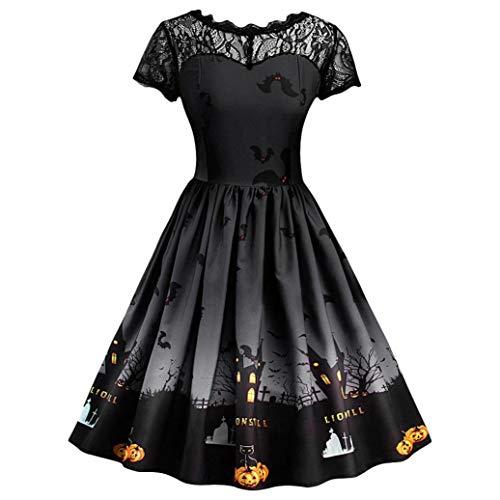 Vestido de Halloween con Encaje Estampado Negro, Covermason Vestido de Noche de Encaje Retro de Halloween de Manga Corta para Mujer Vestido de oscilación de Calabaza de línea(Negro,38EU)