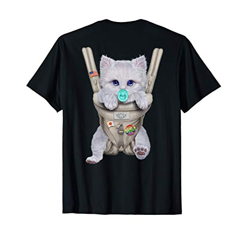 Gato blanco con chupete en portabebé Camiseta