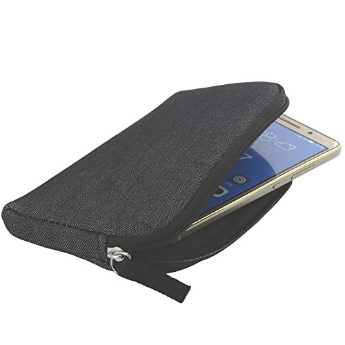 XiRRiX Handyhülle mit Handschlaufe 7.2 - universal Größe 2XL passend für Doro 8035 8040 / Huawei P20 Lite / P30 / P40 / Y5 2019 / Y5p / Samsung Galaxy A20e A40 A41 S10e - Handytasche schwarz grau