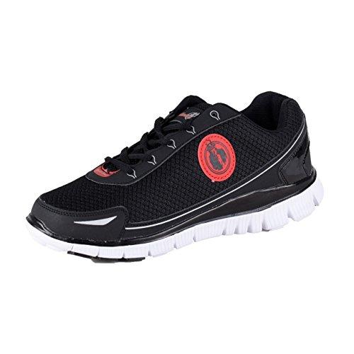 Uncle Sam Herren Leichtlaufschuhe Sneaker Sportschuhe Joggingschuhe mit Kreis-Logo, Schwarz/Rot, Größe:43, Farbe:schwarz