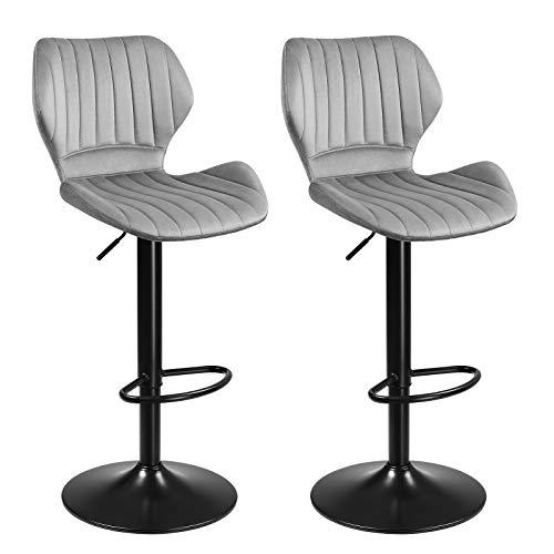 SONGMICS Barhocker, 2er Set Barstühle, Küchenstühle mit stabilem Metallgestell, Stühle mit Samtbezug, Fußstütze, Sitzhöhe verstellbar, einfache Montage, Retro, hellgrau LJB070G02