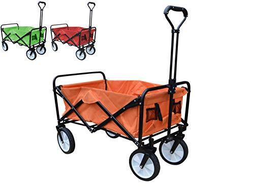 Papilioshop Moon Bollerwagen, faltbar, mit Rädern, für Garten, Transport, max. 80 kg, Orange