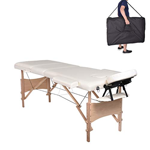MC Star Table de Massage 3 Zones Bois Léger Pliante Lit de Massage Pliable Professionnelle Cosmetique Reiki avec Amovible Appui-tête Accoudoir Sac de Transport Blanc