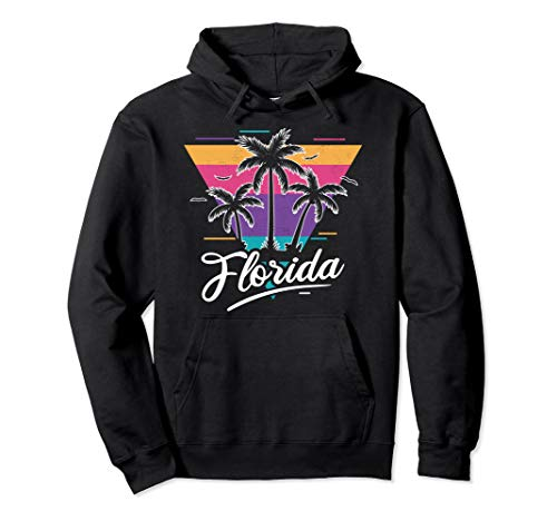 Love Florida 80s Outrun Palms Graphic Hoodie, Adults Unisex S to 2XL