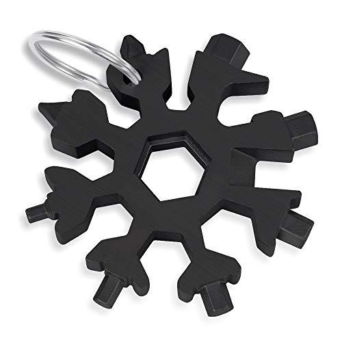 18 in 1 Schneeflocken Multitool, Edelstahl Multifunktionswerkzeug, Sechskantschlüssel, Schraubendreher, Inbusschlüssel, Flaschenöffner, bestes EDC Werkzeug, Geschenk für Weihnachten (Schwarz)
