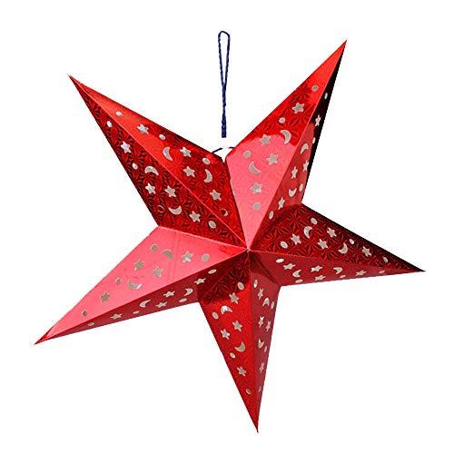 Tonver Weihnachtsdeko, bunte fünfzackige Laserpapierstern-Dekorationen, Baumschmuck, Wanddekoration, für Thanksgiving, Weihnachten, Hochzeit, Party, 45 cm, 1 Stück, Papier, rot, 45 cm