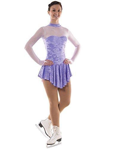 Mädchen Crushed Samt Eislaufen Kleid mit Glittermist - Lila oder Kirsch - Lila, 134-140
