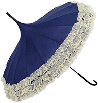 JRM's Princess Lace Pagoda Umbrellas for Straight Bar Semi Automatic Long Handle Hook Rain Gear Lady Sunshade Photography Props Windproof Sunny and Rainy Umbrella