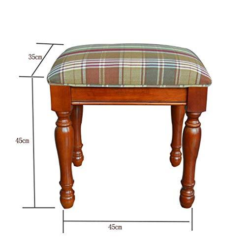 AXCJ Kleiner Sitz American-Style Massivholz-Dressing-Up Hocker Nordic Modern Fabric Make-Up Hocker Einfache Sofa Hocker Einfach zu ändern Schuh Hocker Schlafzimmer Hocker (Design: a),A