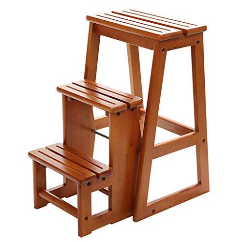 GUOXY Multifunktionsküche Hoch Hocker Benchttic Bürotreppenhocker Stuhl, Faltbare 3 Schritt Holz Leiter Mit Trittsicherheit Griffige, Haus-Garten-Werkzeug, Max Last 150Kg