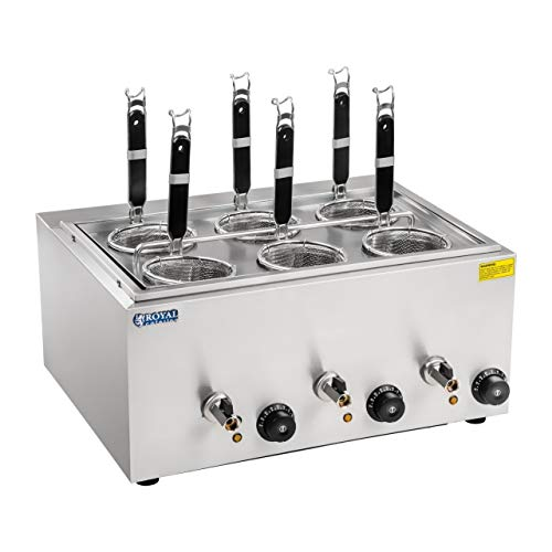 Royal Catering Cuece-pastas con 6 Cestas Cocedor Para Hostelería RCNK-6 (Dimensiones: 50,7 x 60,5 x 50 cm, 3 x 1.000 watt, 4 Litros)
