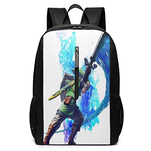 The Legend of Zelda 17-Zoll-Schulrucksack College-Tasche Laptop-Rucksack Rucksack mit großer Kapazität (Schwarz)