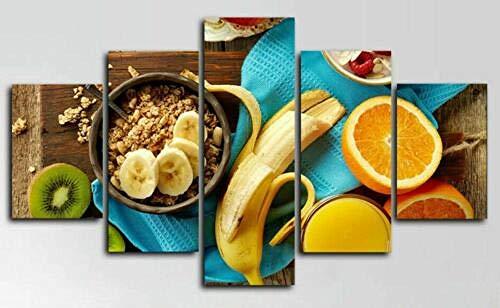 5 Lienzos Impresión Cuadros Desayuno Frutas Cocina Alimentos Modificado Imagen Gráfica Decoracion para Salón Dormitorio Pared Listo para Colgar Marco 150X80cm