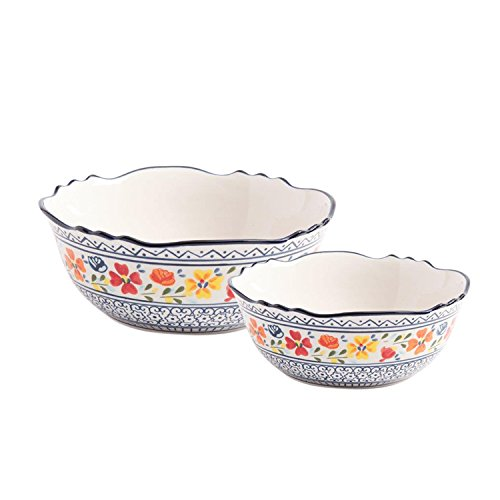"Gibson Elite 92996.02R Luxembourg Handpainted 8"" & 10"" Serving Bowls, Blue and Cream w/Floral Pesigns"