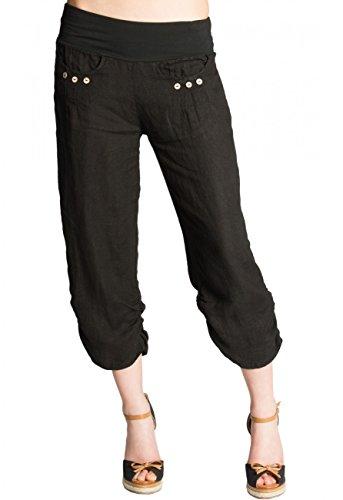Caspar KHS017 Pantalon 3/4 pour Femme en Lin, Couleur:Noir, Taille:XL - FR44