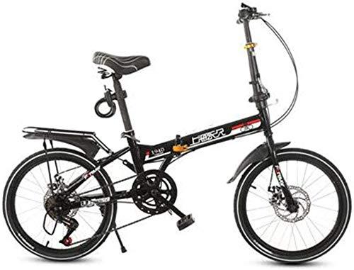 HFFFHA Plegable velocidad de la bicicleta plegable de acero de la bici de la ciudad - 20 pulgadas de hombres y de mujeres Freno de doble amortiguador de velocidad variable bicicleta portátil ligero de