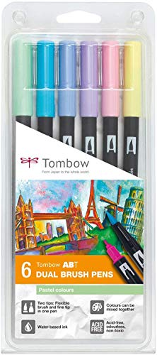 Set De 6 Rotuladores Dual Brush Colores Pastel Tombow