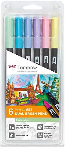Tombow ABT-6P-2 Feutres pinceau à 2 pointes - Multicolore - Lot de 6