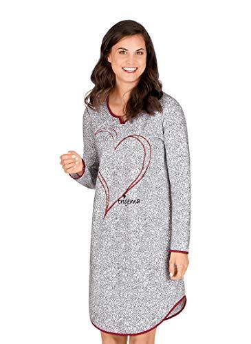 Trigema Damen Nachthemd mit geschmackvollem Herzmotiv