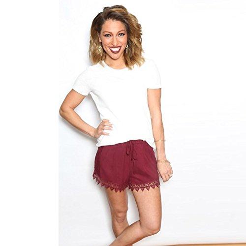 Pantalones cortos para mujer, de verano, de encaje puro, casual, empalme, rojo, XL