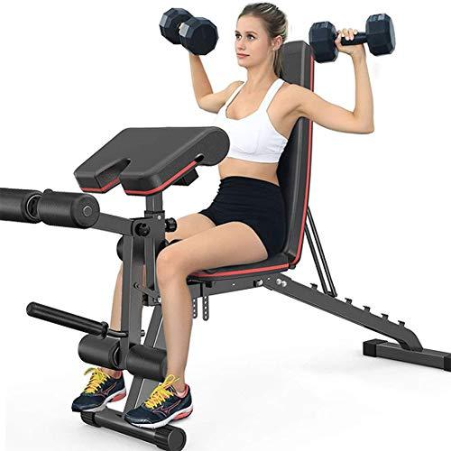 Ababy Faltbare Fitness Flachbank, Hantelbank mit Beinstrecker und Beinbeuger, 7-Fach verstellbare Rückenlehne, Maximallast von 317 kg für Hauptgymnastik, Ganzkörpertraining