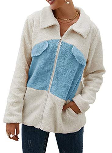 CORAFRITZ Damen Casual Farbblock Jacken Fleece Fuzzy Outwear Faux Shearling Mantel Warm Patchwork Winter Zottelige Sweatshirts Gr. 48, himmelblau