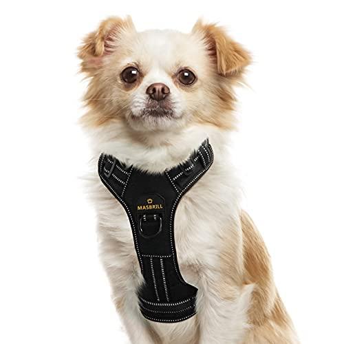 Hundegeschirr für Kleine Hunde, Anti Zug Hunde Geschirr Verstellbar Reflektierend Sicherheitsgeschirre Weich Gepolstert Atmungsaktiv Brustgeschirre für Große Mittlere und Kleine Hunde(Schwarz, S)