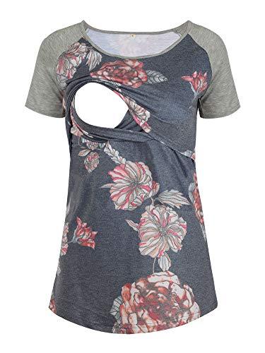Glampunch Maternity Nursing Tops Patchwork Long&Short Raglan Sleeve Breastfeeding T-Shirt