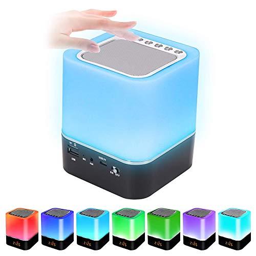 Prenine Altavoz Bluetooth con luz, lámpara LED de mesita de noche táctil, regulable, despertador, altavoz Bluetooth portátil, cambio de color RGB, reproductor de MP3 para niñas, niños y adolescentes