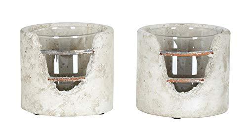 levandeo 2er Set Windlicht 13x12cm Beton Grau Rost Teelichthalter Kerzen Deko Glas Industrial Kerzenhalter Garten-Deko