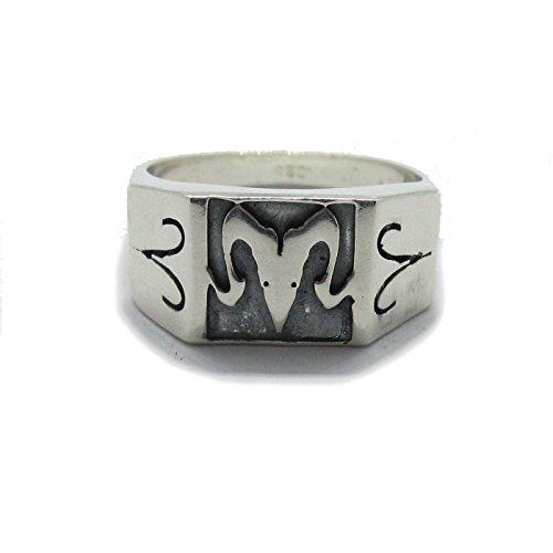 Anello da uomo in argento massiccio 925 Segno zodiacale Ariete R001806