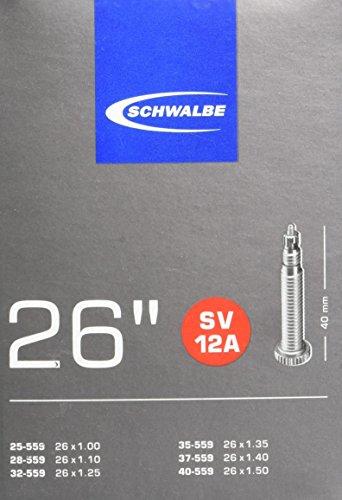 Schwalbe 10432343 SV12A - Cámara de Aire para Bicicletas (26 Pulgadas), Color Negro