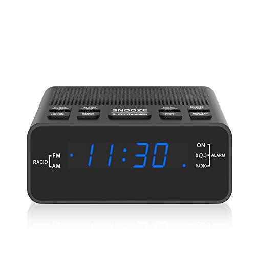 Radiowecker, AM/FM Digitaler Wecker Radio mit LED Display, Sleep Timer, Dimmer, Snooze Battery Backup für Schlafzimmer,Bedside,Desk,Shelf (251blue)