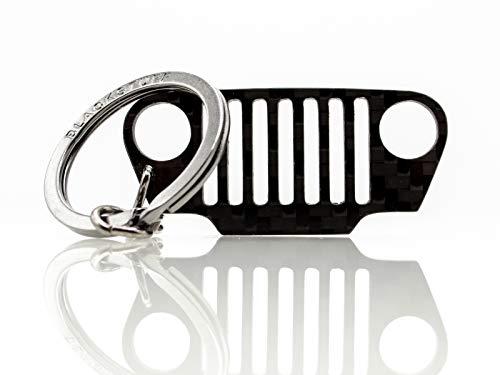 BlackStuff Carbon Karbonfaser Schlüsselanhänger Kompatibel mit Wrangler TJ Grill BS-326