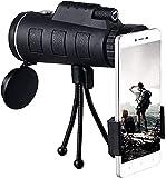 HYLX Telescopio para teléfono Celular con Alcance monocular 40X60 con Soporte para teléfono Inteligente Compatible con trípode Observación de Aves Camping Senderismo Viajar (Monocular)