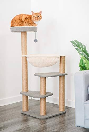 FiNeWaY 105cm Large 4 Tier Cat Tree Scratcher Scratching Kitten Climb Post Sisal Toy Activity With Plush Hammock Game