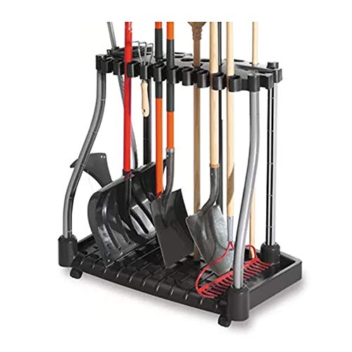 j&m Tool Tower w Castors Garden Tools Organizer Store Rakes Shovels Brooms Black