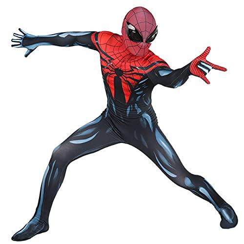 CXYGZLJ Mascarada de Adultos Masquerade Spiderman Mono con la mscara de Ojos estreo Negro, Lycra Spandex Cosplay Costume 3D Realista Spiderman Battle Traje Cine y Televisin,Blue-Men S