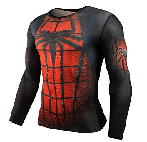 HIMIC E77C Super Hero Quick-Drying Elastic Sport Running T-Shirt (XX-Large, Spider Long Sleeve 1)