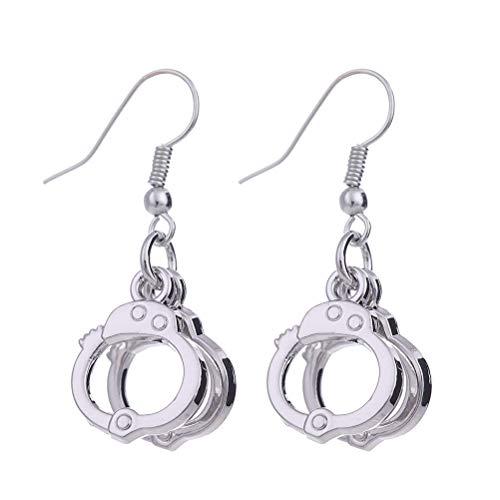 ABOOFAN 1 Pair Handcuffs Design Pendant Earrings Creative Funny Ear Hooks Ear Jewelry for Women Ladies for Party