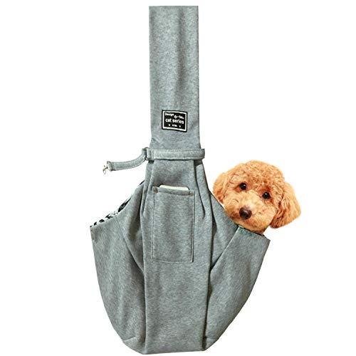 レットハート 犬 ペット スリングバック 抱っこひも 小型犬用 中型犬用 猫用 ペットスリング だっこひも 飛び出し防止機能 通院 サロン お出かけ 災害 公共機関で利用可能 (グレー)