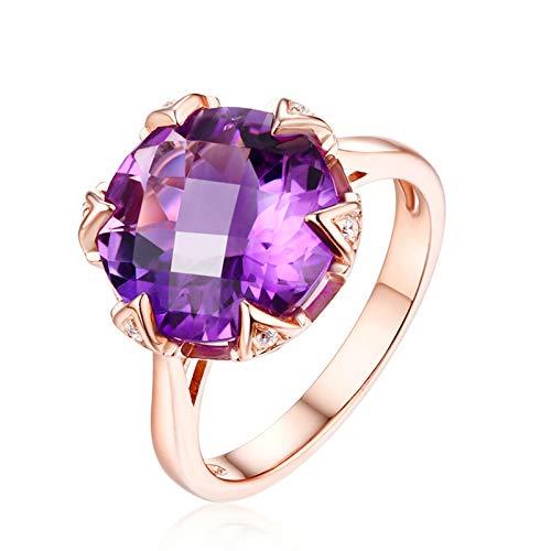 KnSam Bague Femme Fine 7.5ct Rond Brilliant Améthyste Naturelle Diamant, Or Rose 18 Carats Élégance Cadeau Noël